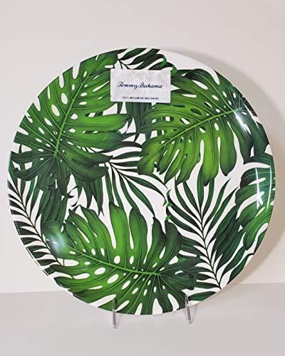 "Tommy Bahama 100% Melamine 1-Round Serving Platter (14"" Diameter) GREEN LEAVES - Leaf Round Platter"