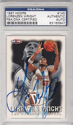 Lorenzen Wright Los Angeles Clippers 1997 Hoops Signed AUTOGRAPH - PSA/DNA Certified - Basketball Slabbed Autographed Cards