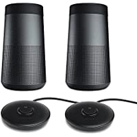 Bose SoundLink Revolve Bluetooth Speaker, Triple Black - Pair for a True Stereo Sound w/ Charging Cradles - Bundle