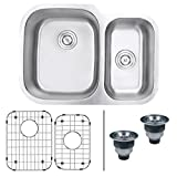 "Ruvati RVM4500 Undermount 16 Gauge 29"" Kitchen Sink Double Bowl with Left Configuration, Stainless Steel"