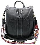 Codyna Genuine Leather Black Backpack for Women with Guitar Style Strap Casual Shoulder Bag Handbag