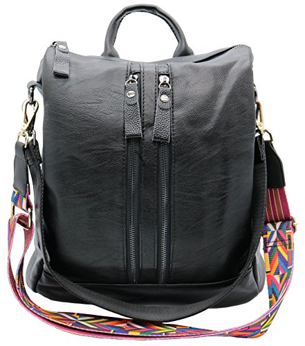 Shoulder Black Codyna Backpack Leather Handbag Style with Women for Genuine Casual Strap Bag Guitar EqEZFwP