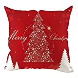 Merry Christmas Pillow Case Xmas Tree Cushion Cover, Cotton Linen Sofa Bed Throw Cushion Cover Decoration for Sofa Car