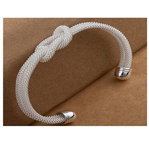 Fashion Weeding Jewelry Simple 925 Silver Love Knot Lock Open Bracelet Bangle