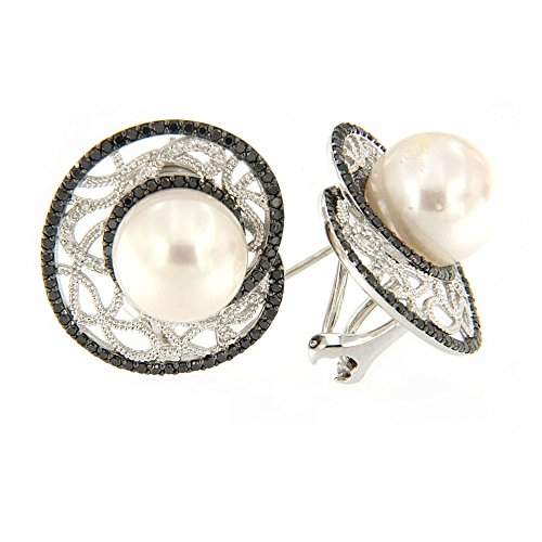 18K White Gold Black White Diamond Cultured Pearl Hoop Earrings TDW 1.233 cts