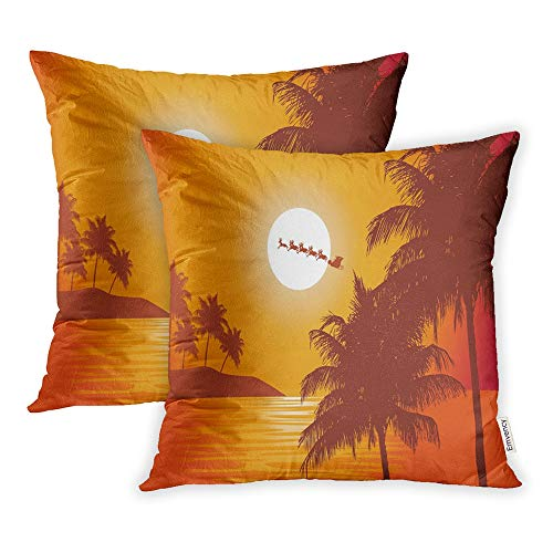 Emvency Pack of 2 Throw Pillow Covers Print Polyester Zippered Santa Ride Claus Rides Past The Full Moon Over Tropics to Deliver Christmas Pillowcase 20x20 Square Decor for Home Bed Couch Sofa