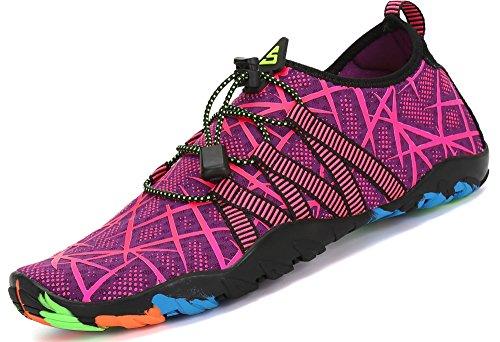Chaussons Autobloquants de Chaussures Plong de d'eau Aquatique Femme Piscine Aquatique avec Lacets Plage pour et Surf Homme Sport pour Plage wnFIA4