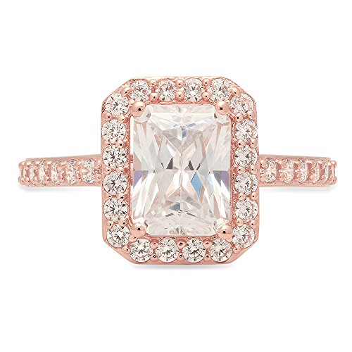 Emerald Cut Diamond Ring Settings (2.17ct Emerald Round Cut Halo Solitaire Statement Simulated Diamond Petite Ring in Solid 14k Rose Gold for Women, 5.25)