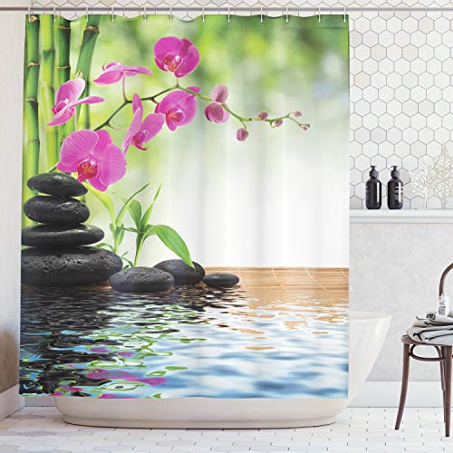 (Ambesonne Spa Decor Curtain, Composition Bamboo Tree Floor Mat Orchid and Stones Wellbeing Greenery Image Pattern, Polyester Fabric Bathroom Decor Set with Hooks, Green)