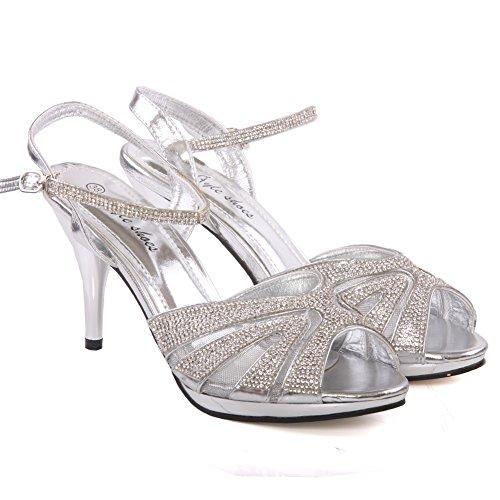 Unze Zapatos de novia adornado estilete Mujeres Marietta 'tamaño de Reino Unido 3-8 Plateado