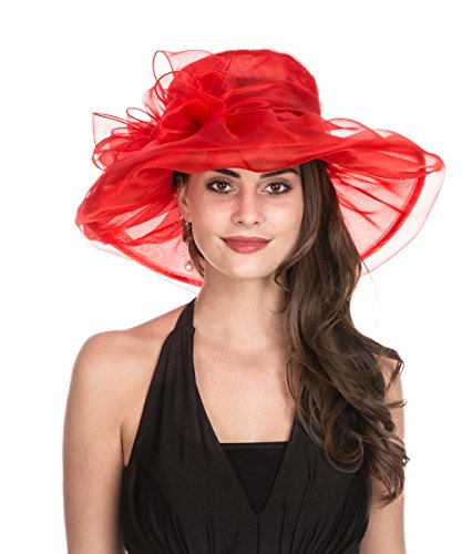- Lucky Leaf Women Kentucky Derby Church Cap Wide Brim Summer Sun Hat for Party Wedding (1-Red with Bowknot)