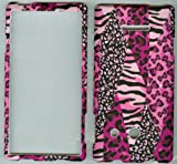 HUAWEI W1 H883G ASCEND WINDOWS F phone case cover snap on protector faceplate hard rubberized CAMO NEW PINK ANIMAL PAINT SAFARI ZEBRA DESIGN