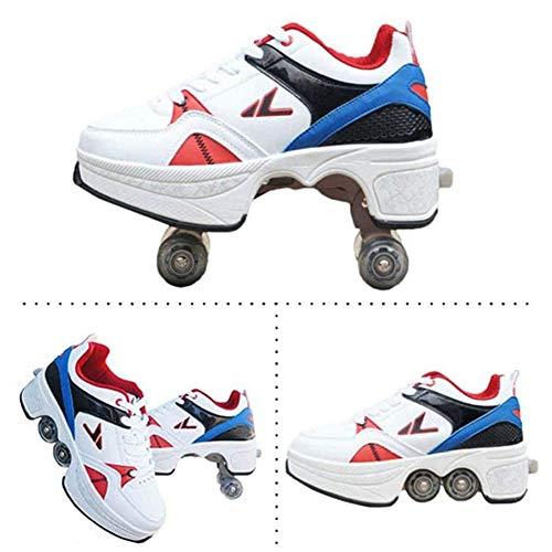 Hmyloz 2 in 1 Abnehmbar Automatisch Gehen Schuhe Turnschuhe Doppelreihe Rad Verformen Verformung Anti-Schwerkraft-Laufen Rollschuhlaufen Wunderbare Geschenkideen