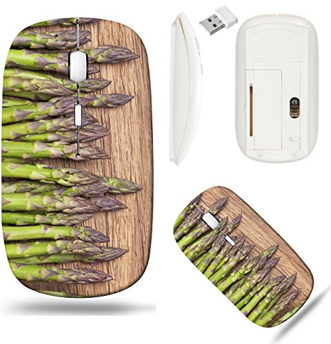 Liili Wireless Mouse White Base Travel 2.4G Wireless Mice with USB Receiver, Click with 1000 DPI for notebook, pc, laptop, computer, mac book Green asparagus on a wooden background IMAGE ID