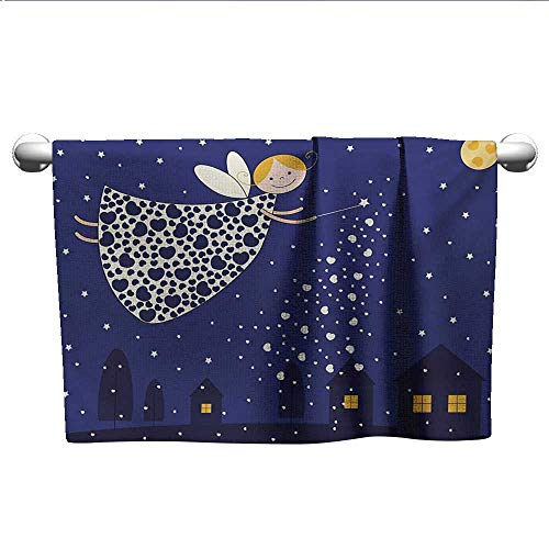 LilyDecorH Night,Personalized Towels Girls Kids Cartoon Cute Fairy in Sky Casting Magic Over Houses Hearts Stars Hotel Pool Towels Blue Marigold White W 28