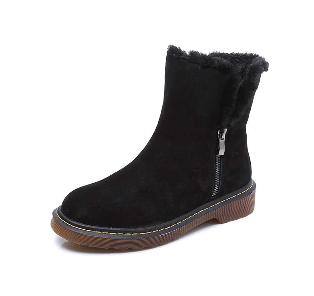 Noir DANDANJIE Femmes Chaussures 2018 Hiver Bottes De Neige Talon Plat Bottillons Bottines pour Casual 34EU