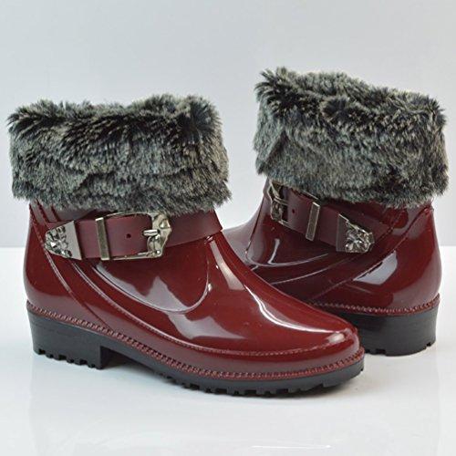 LvRao Señoras Boots de Goma con Tacón Zapatos de Lluvia Nieve Impermeable Botines Tobillo Botas de Jardín para Mujeres Rojo con Pelaje