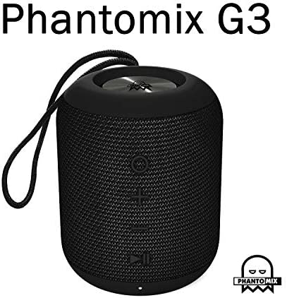 PhantoMix G3, True Wireless Rechargeable Bluetooth Speaker with Mic, Premium Stereo, Waterproof Shower Speaker, Enhance Bass Aux Port USB Charging Black
