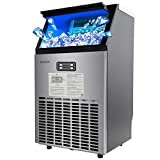 ROVSUN Built-in Stainless Steel Commercial Ice Maker,100lbs/24h, 33lbs Storage, Under Counter/Freestanding/Portable Automatic Ice Machine for Restaurant Bar Cafe,5 Accessories, 18'Lx16'Wx31'H,115V