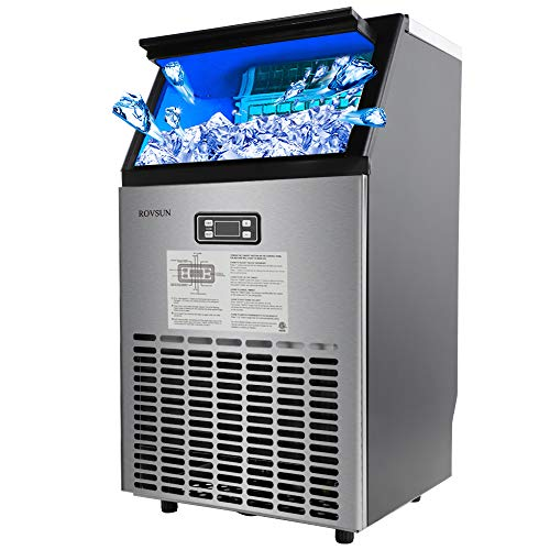 ROVSUN Built-in Stainless Steel Freestanding Ice Maker,100lbs/24h, 33lbs Storage,Under Counter/Commercial/Portable Automatic Ice Machine for Restaurant Bar Cafe,5 Accessories,18