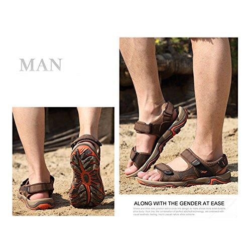 Zapatos Yxlong Cuero Los De Masculinos 2018 Hombres Nuevas Verano 1727darkbrown Playa Sandalias aaUSH4