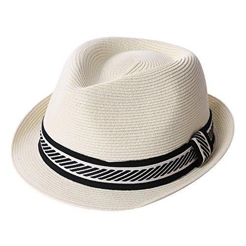 (Straw Fedora Summer Panama Beach Hats Golf White Mens Casual Sun Hats Crushable)