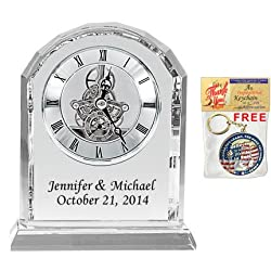 Personalized Crystal Clock Black Colorfill Desk Engraved Clock Wedding Anniversary Employee Recognition, Service Award and Retirement Gifts Colorfill Diamond Cut Silver Da Vinci Arch