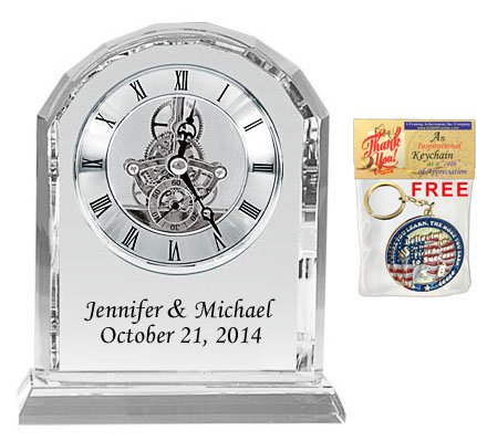 (Personalized Crystal Clock Black Colorfill Desk Engraved Clock Wedding Anniversary Employee Recognition, Service Award and Retirement Gifts Colorfill Diamond Cut Silver Da Vinci Arch)