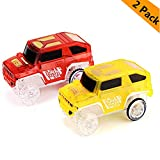 New Ideas Car Tracks,Light Up Replacement Toy Car (2-Pack) Glow in The Dark Racing Track Compatible with Most Tracks,Boys and Girls (red + Yellow)