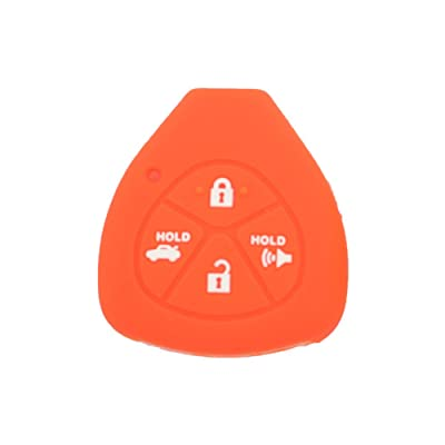 SEGADEN Silicone Cover Protector Case Skin Jacket fit for TOYOTA 4 Button Remote Key Fob CV2416 Orange: Automotive