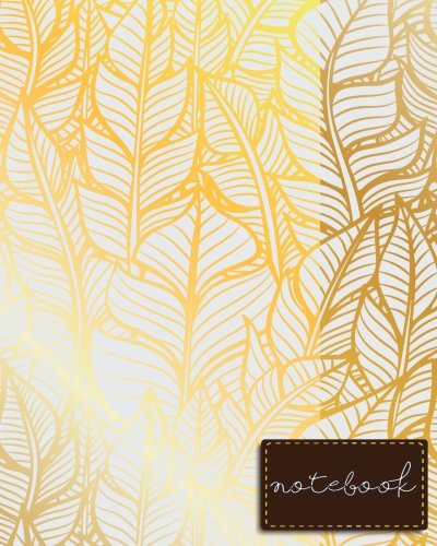 Notebook: Golden Notebook , Feathers Bohemian Notebook , size 8