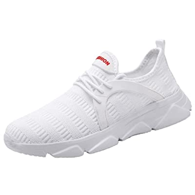 ZSBAYU Mens Sports Casual Trainers Running Shoes Walking Jogging Gym Sneakers Lightweight Comfortable Breathable Trainers Athletic Mesh Shoes(White, 7) | Shoes