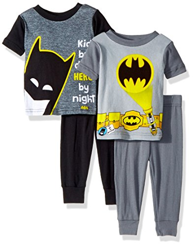 Batman Baby Boys 4-Piece Cotton Pajama Set, Hero Black, 24M -