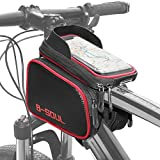Cofit 3 In 1 Large Capacity Bike Handlebar Frame Bag Red, Bicycle Pouch Cycling Phone Mount Holder with Waterproof Sensitive Touch Screen Suitable for Smart Cellphones below 7.1 Inch
