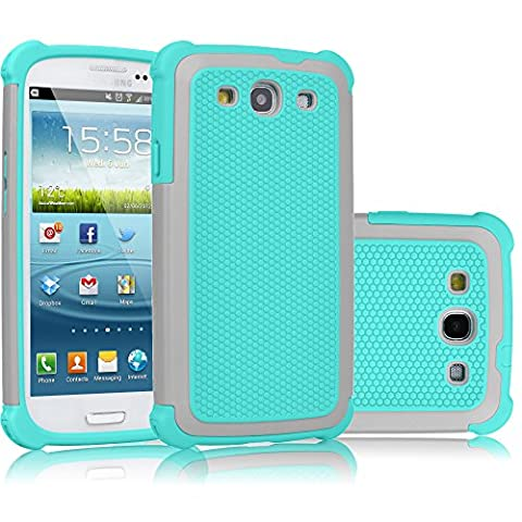 Galaxy S3 Case, Tekcoo(TM) [Tmajor Series] [Gray/Turquoise] Shock Absorbing Hybrid Rubber Plastic Impact Defender Rugged Slim Hard Case Cover Shell For Samsung Galaxy S3 S III I9300 GS3 All (Galaxy S3 Straight Talk New)