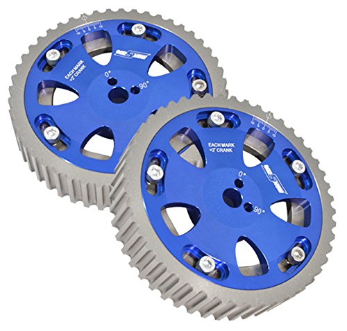 2 Piece Blue Adjustable Cam Shaft Gears For 4g63 Dohc -