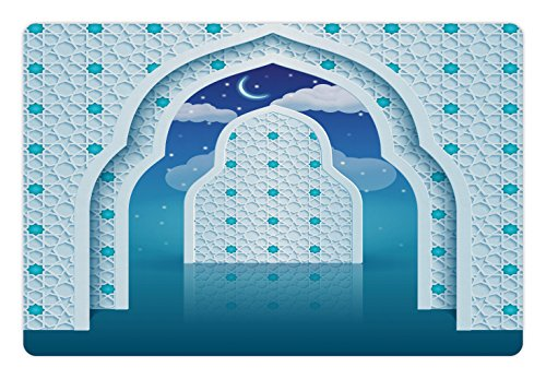 Ambesonne Moroccan Pet Mat for Food and Water, Eastern Arabic Quote Textured Arch Door with Cloudy Star Sky Night Backdrop Print, Rectangle Non-Slip Rubber Mat for Dogs and Cats, Navy Blue