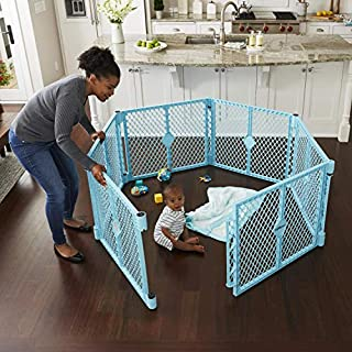"""Toddleroo by North States Superyard Indoor-Outdoor Play Yard: Safe Play Area Anywhere - Folds up with Carrying Strap for Easy Travel. Freestanding. 18.5 Sq.'. Enclosure (26"""" Tall, Aqua Blue, 6-Panel)"""