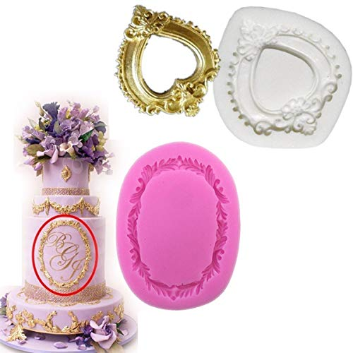 Anyana picture frame mold Vintage Silicone Cupcake Baking Molds wedding party Fondant molds oval Cake Decorating Tools heart mirror Gumpaste Chocolate Candy Clay Moulds Non stick easy to use