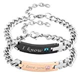 Jovivi Men Women Stainless Steel CZ I Know & I Love You Couples Bracelets Matching Set in Gift Box