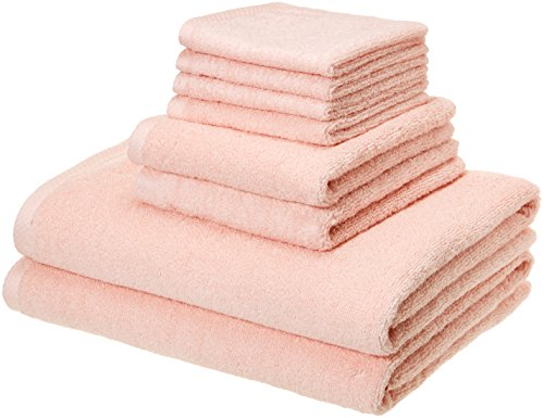AmazonBasics Quick-Dry Bathroom Towels, 100% Cotton, 8-Piece Set, Petal Pink