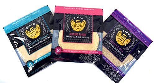 Siete Paleo Tortillas 3 Flavor Sampler Pack, Almond Flour, Cassava Coconut, & Cassava Chia Seed, 8 count each (3 packs total)