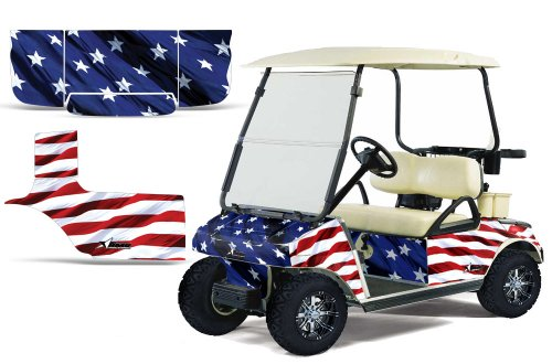 1983-2014 Club Car Golf Cart AMRRACING ATV Graphics Decal Kit-Stars and Stripes
