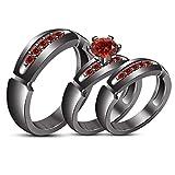 TVS-JEWELS Round Cut Created Gemstone Tiro Wedding Ring Set Black Rhodium Plated Sterling Silver (red garnet)