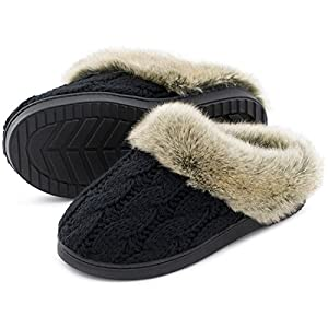 Women's Soft Yarn Cable Knit Slippers Memory Foam Anti-Skid Sole House Shoes w/ Faux Fur Collar, Indoor & Outdoor