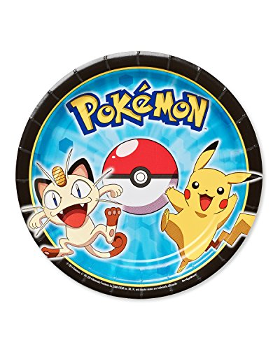 """American Greetings Pokemon Round Plate (8 Count), 7"""""""