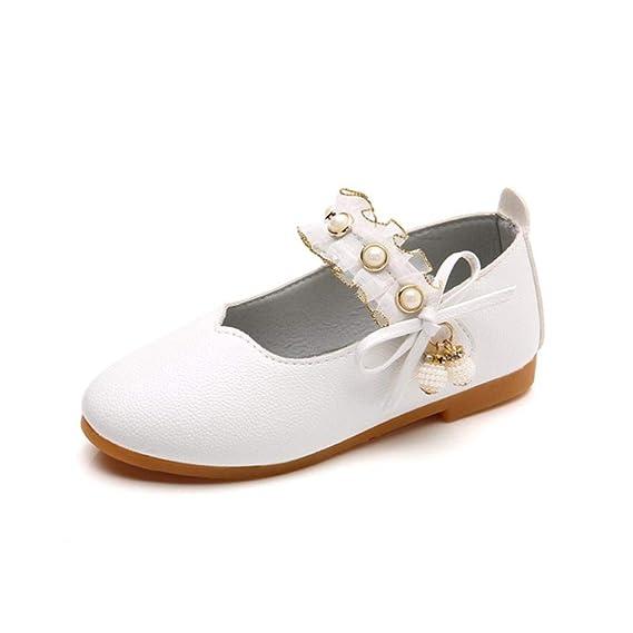 ZODOF Niños niñas de Cuero sólido Bowknot Colgante de Perlas Princesa Solo Zapatos Casuales: Amazon.es: Ropa y accesorios