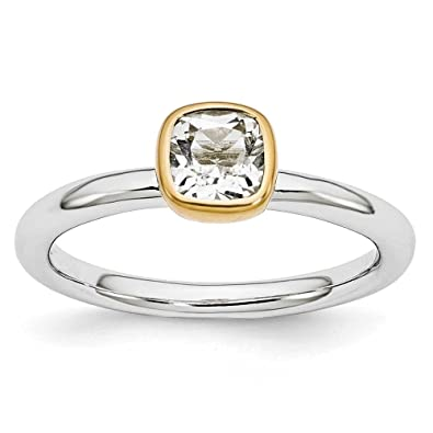 546ee790fcda8 Sterling Silver Stackable Expressions w/ Gold Plated Square White Topaz  Gemstone Ring