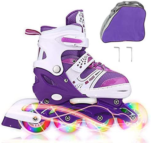 JIFAR Youth Children s Inline Skates for Kids, Adjustable Roller Blades with Light Up Wheels for Girls Boys, Indoor Outdoor Ice Skating Equipment in Small Medium Size, Blue Purple