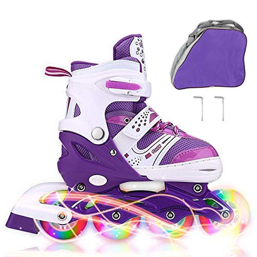 JIFAR Youth Children's Inline Skates for Kids, Adjustable Roller Blades with Light Up Wheels for Girls Boys, Indoor&Outdoor Ice Skating Equipment Small Size(12J-2 US), Purple